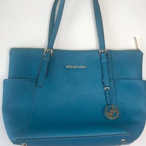 Michael Kors Jet Set Top-Zip Saffiano Teal